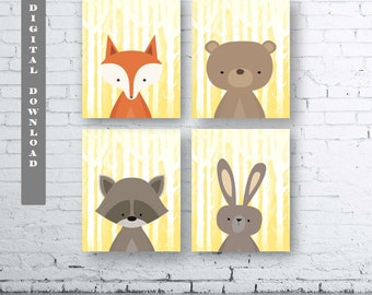 WOODLAND Animals Wall Art Print-Set of Four (4) - Digital Download. Woodland Creatures Wall Art Printable. Forest Friends Printable. Yellow