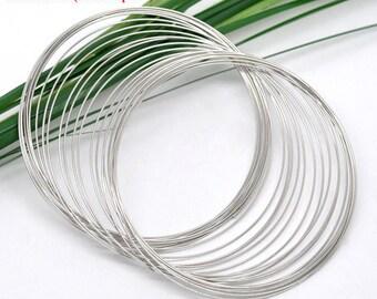65-70MM Silver Tone Steel Memory Wire -50 Loops