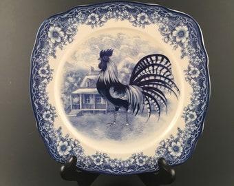 Vintage William James Farmyard Plate Bowl Vintage William James Farmyard Dinnerware Farmhouse Dinnerware & Blue ceramic rooster   Etsy