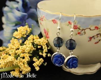 Dark Blue Rondell Bead and Rose Drop Earrings