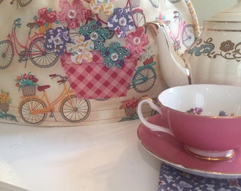 Tea pot Cosy-floral-bicycle pattern-Cape May inspired-teaparty