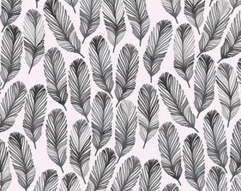 Feathers in Black Changing Pad Cover