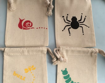 Bug Party Favor Bags: Muslin Bags With Insect Designs - Spider, Caterpillar, Snail and Bee