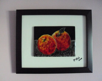 """Fused glass wall art.  """"Two Peaches on a Table""""(framed)"""