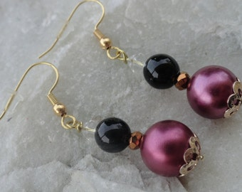 Burgundy Black and Gold Beaded Earrings