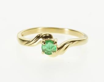 10k Round Emerald Scalloped Wavy Freeform Ring Gold