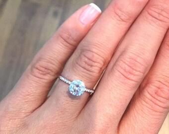 14K Rose Gold, 6 Prongs Diamond Engagement Ring, 2 Carat Round, Pave Diamond Ring, Pave Ring, unique Diamond Ring, unique Engagement Ring
