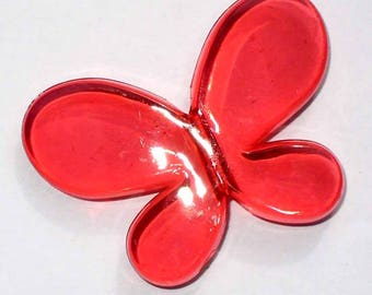1 bead 45mm red transparent Butterfly AA162