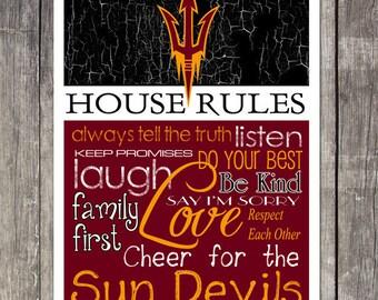 Arizona State Sun Devils House Rules 4x4.1/2 Magnet