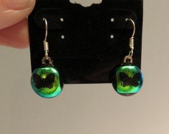 Fused glass dangle butterfly earrings