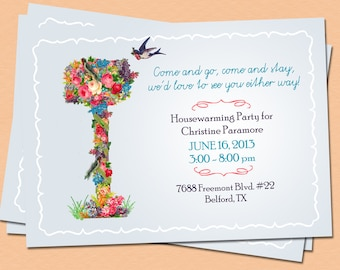 DIY Housewarming Invitation, Custom Printable Moving Announcement, Floral Mailbox, Vintage Victorian 5x7 4x6