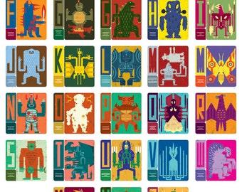 Kaiju Alphabet/Digital Art Print/Poster