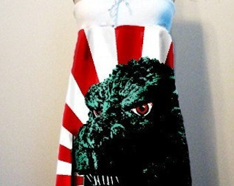 GODZILLA Horror All Over Print T-Shirt Strapless DRESS