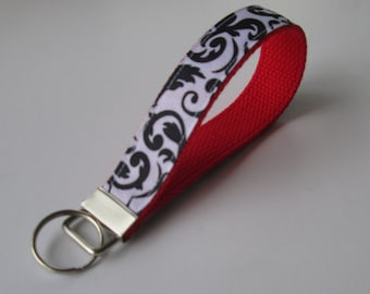Black and White Damask Lanyard Keychain for Women, Cool Lanyards for Women, Damask Keychain Lanyard, Cute Wristlet Lanyard, Cute Key Fobs