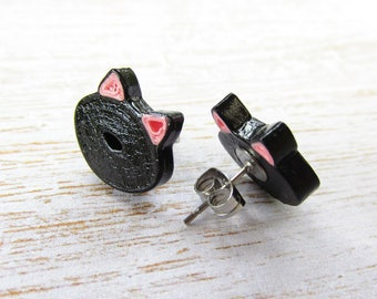 Black Cat Earrings, Black Cat Jewellery, Pinup Earrings, Rockabilly Earrings, Quilled Earrings, Quilled Jewellery, Stud Earrings, Black Cats