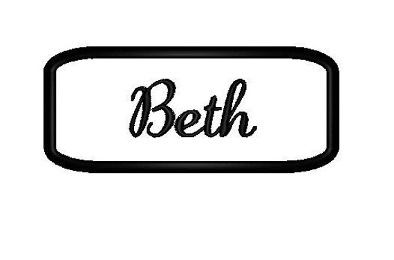 Embroidered  felt  Name Patch with black stitching on white.