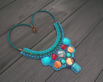 Seed beaded embroidery necklace Statement Necklace Gift for womens Embrodered necklace Gift for her Turquoise blue necklace Bright necklace