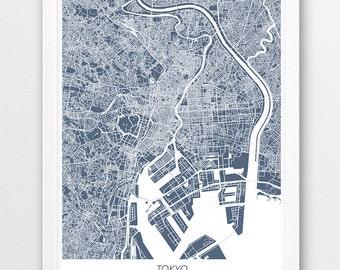 Tokyo Map Print, Tokyo City Poster Print, Tokyo Japan Urban Street Map Print, Blue Color, Home Room Wall Office Printable Decor, Travel Gift