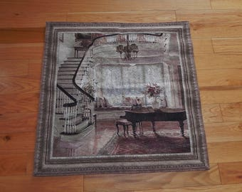Fine Art Tapestries 'Grand Piano With Staircase' Cotton Wall Tapestry