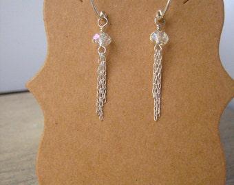 Sterling silver and Crystal Tassel Earrings
