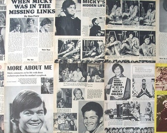 MICKY DOLENZ ~ The Monkees, Circus Boy, Last Train To Clarksville. Daydream Believer ~ Color and B&W Articles from 1967 - Batch 2