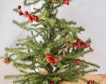 Decorative Evergreen Table Top Tree w/red berries & pinecones