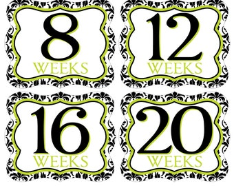 12 Weekly Pregnancy Mama-to-be Maternity Waterproof Glossy Die-cut Stickers  - Monthly stickers available - Design W002-03