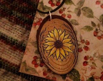 Handpainted Wooden Sunflower Necklace