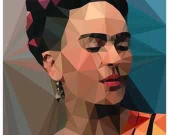 Frida Khalo geometric print (blue)