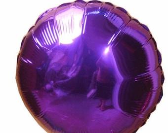 Balloon round Mylar purple aluminum wire 45cm