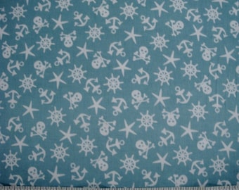 "Michael Miller Quilting Fabrics , ""Sailor Symbols""  Sold by the HALF Yard"