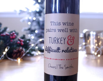 Holiday Wine Labels Christmas Wine Label Thanksgiving Wine Label Funny Wine Label Gift Idea Brown Kraft Turkey Wine Sticker Wine Gift Tag