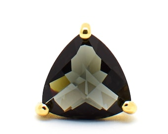 2 Triangle Charcoal Crystal Glass Pendant / Connector. Gold Plated over Brass Setting. 14mm [TGH0206]