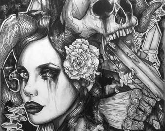 Double Edged Sword Original Drawing 11x14 Inches Art Graphite Traditional Dark Gothic Skull Skeleton Woman With Horns Bipolar Black White
