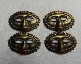 """Vintage gold or silver(not shown) plate brass stamped 3D masks,15/16th""""x9/16th"""",4pcs-CHM06"""