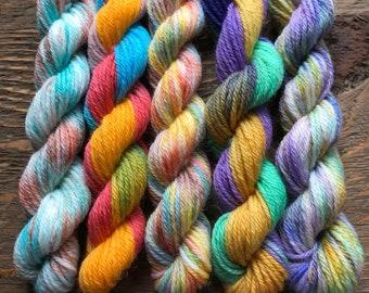 Hand Dyed Sock Yarn Mini Skein Set #10 -- 5 Mini Skeins/40 Yards Each