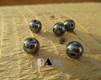 Set of 5 genuine Hematite beads 10 mm-drilled 1.5 mm