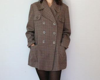90s Brown Tweed Blazer Women Oversized Houndstooth Check Blazer Loose Relaxed Medium Large