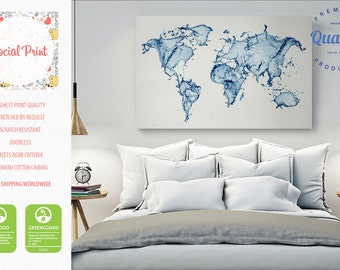 World map canvas etsy world map canvas print made of water free shipping home decor world map gumiabroncs Image collections