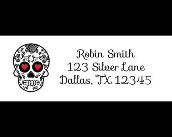 30 Return Address Labels - Sugar Skulls - Day Of The Dead - Sugar Skulls Bridal Shower - Sugar Skulls Labels