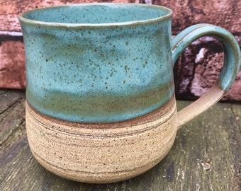 Marble Mug with Teal Glaze 18oz