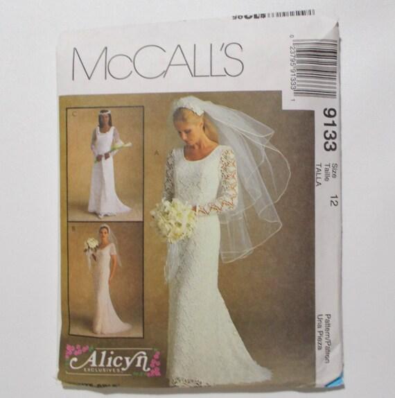 McCalls 9133 Brautkleid Muster Größe 12 Spitze Hochzeit Kleid
