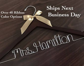 Ships Next Day, Wedding hanger, Priority mail option, wedding photos, bridal, Wedding gift, Bridesmaid gift, name hanger, bridal hanger,