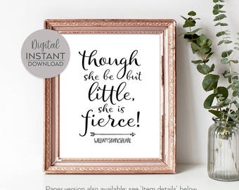 Printable gift for women / Literary quote art / Shakespeare Gift / Feminist girl wall / Quotes for girls / Goddaughter / FILE DOWNLOAD