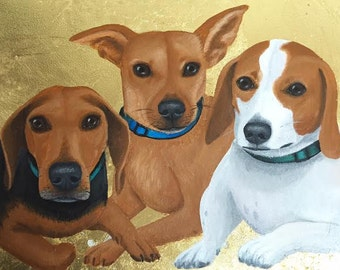 """Custom Pet Portrait 11""""x14"""", Gold Leaf, Personalized Pet Memorial Dog Cat, Birthday Gift Idea, Mom Dad Husband Wife Parent Christmas Holiday"""