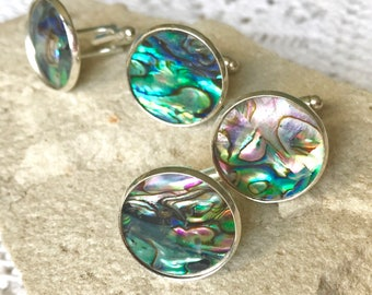 Abalone Paua Shell Set Silver T-Bar Cufflinks Colourful Iridescent Circles Tones of Blue to Green with a Rainbow of Others - Gift Boxed