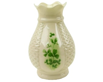 Irish Parian Donegal Ireland 7 Inch Hand Painted Shamrock Belleek Translucent Porcelain Vase