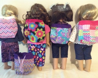 18 inch doll backpack in 5 designs: chevon, floral, patchwork and multi color prints, ready for back to school