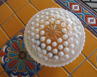 Vintage Clear and White Hobnail Round Dish and Lid