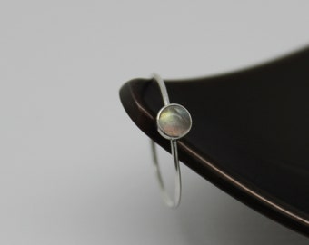 Labradorite Ring, Sterling Silver Ring, Skinny Silver Ring, Thin Silver Ring, Grey Stone Ring, Minimalist Ring, Knuckle Ring, Solitaire Ring